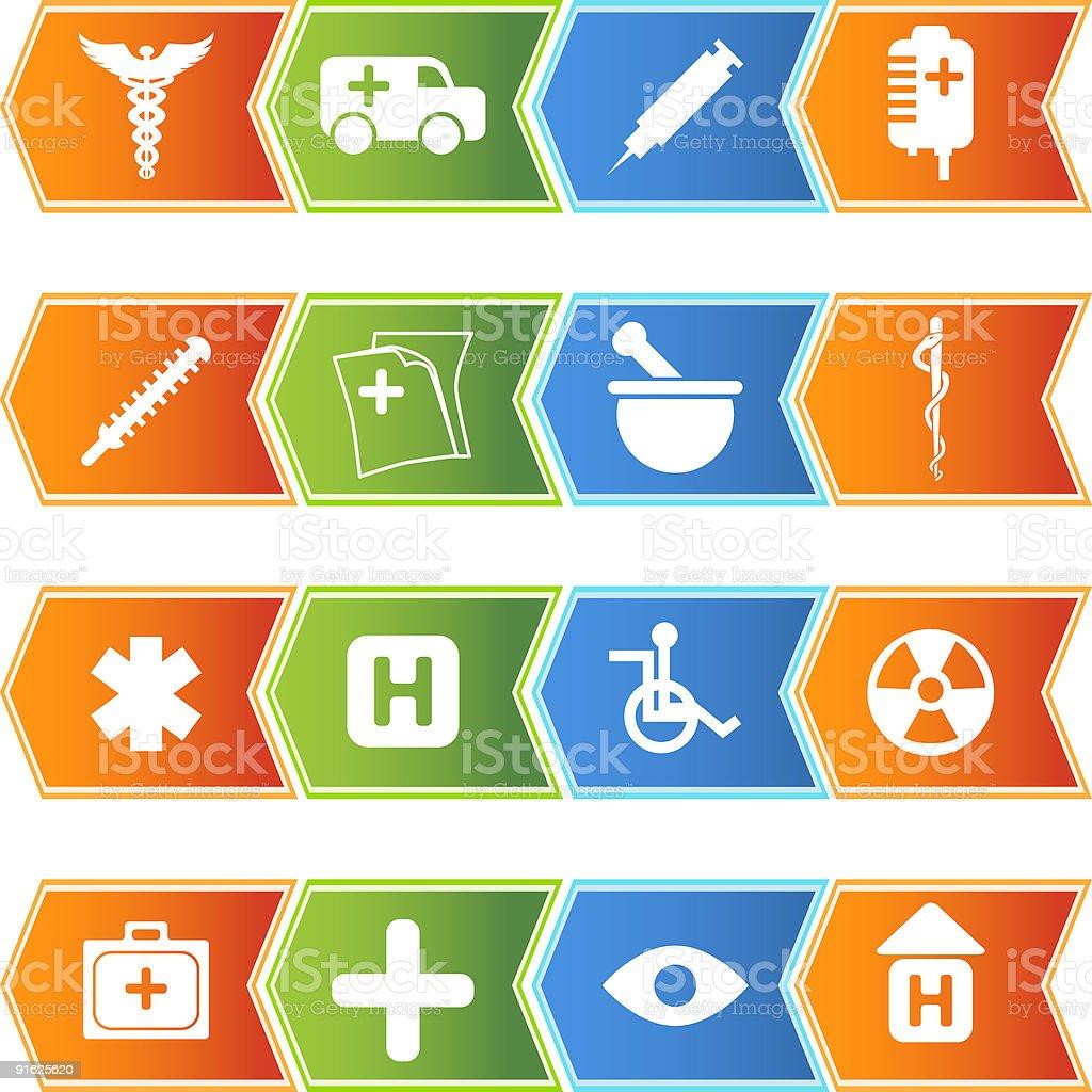 Medical Plus Icons: Chevron Set vector art illustration