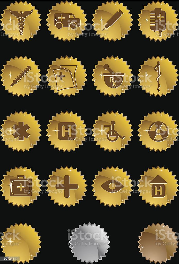 Medical Plus Icons: Metallic Seals royalty-free stock vector art