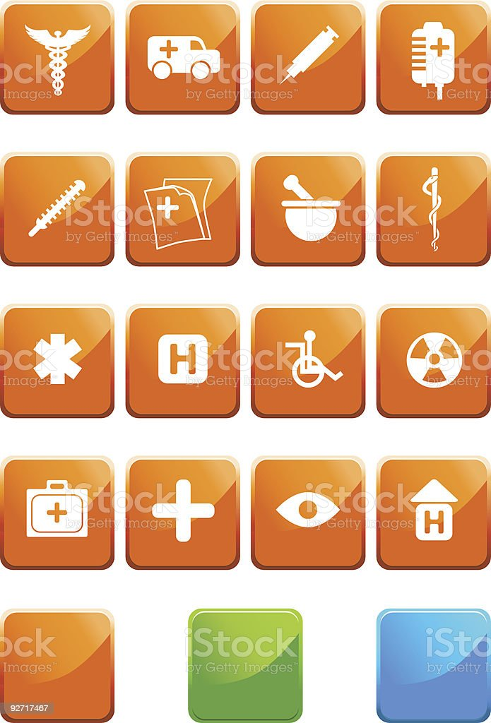 Medical Plus Icons:Flat Square Set royalty-free medical plus iconsflat square set stock vector art & more images of clip art