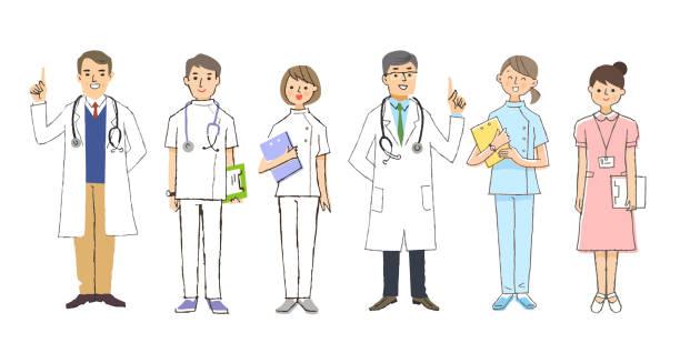 ilustrações, clipart, desenhos animados e ícones de 6 profissionais médicos em vários trabalhos - enfermeira