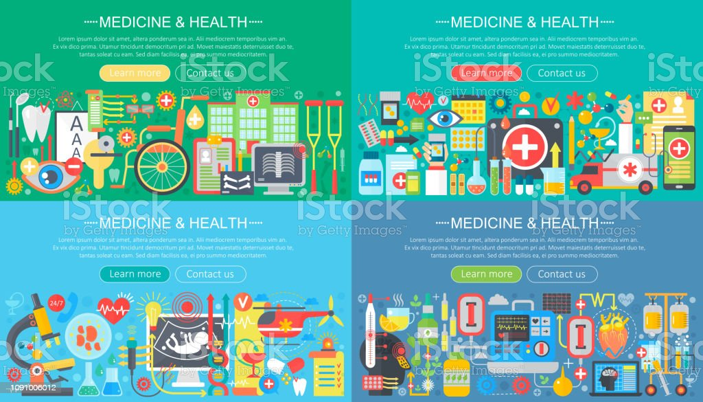 Medicine And Health Horisontal Flat Concept Design Banners Set Herbal Treatment Healthcare Homeopathy Pharmacy Medical Tests Drugs And Pills Vector Illustration Stock Illustration Download Image Now Istock