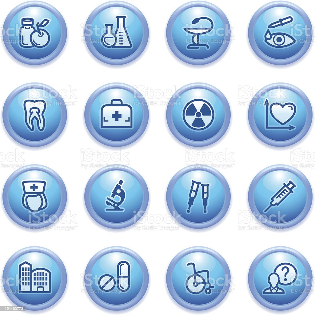 Medicine icons on blue buttons, set 2. royalty-free stock vector art