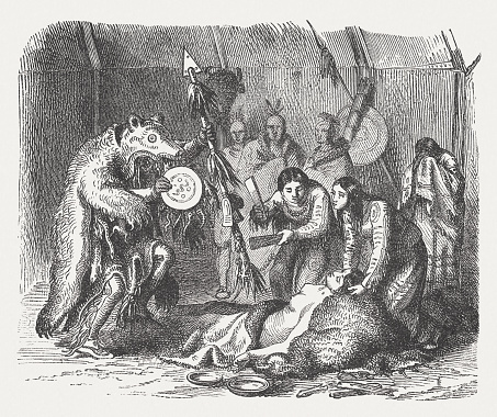 Medicine man of american indians, wood engraving, published in 1880