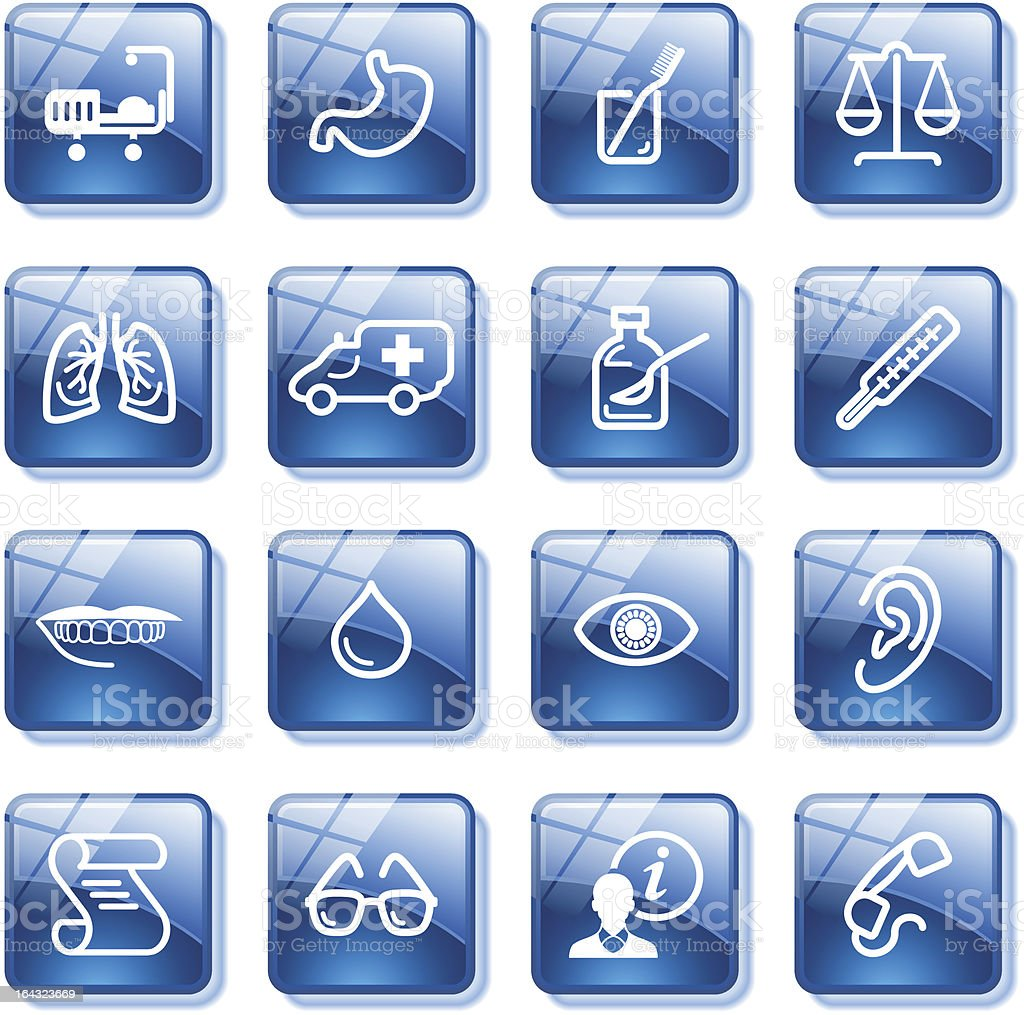 Medicine web icons. Blue glass buttons series. royalty-free stock vector art
