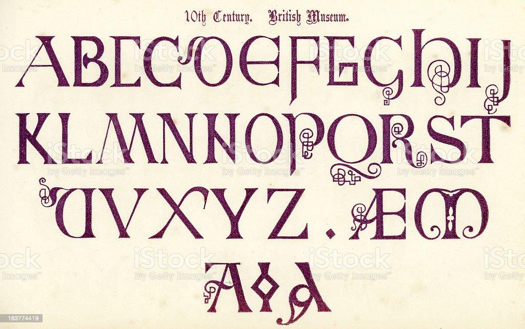 Medieval 10th Century Style Alphabet vector art illustration