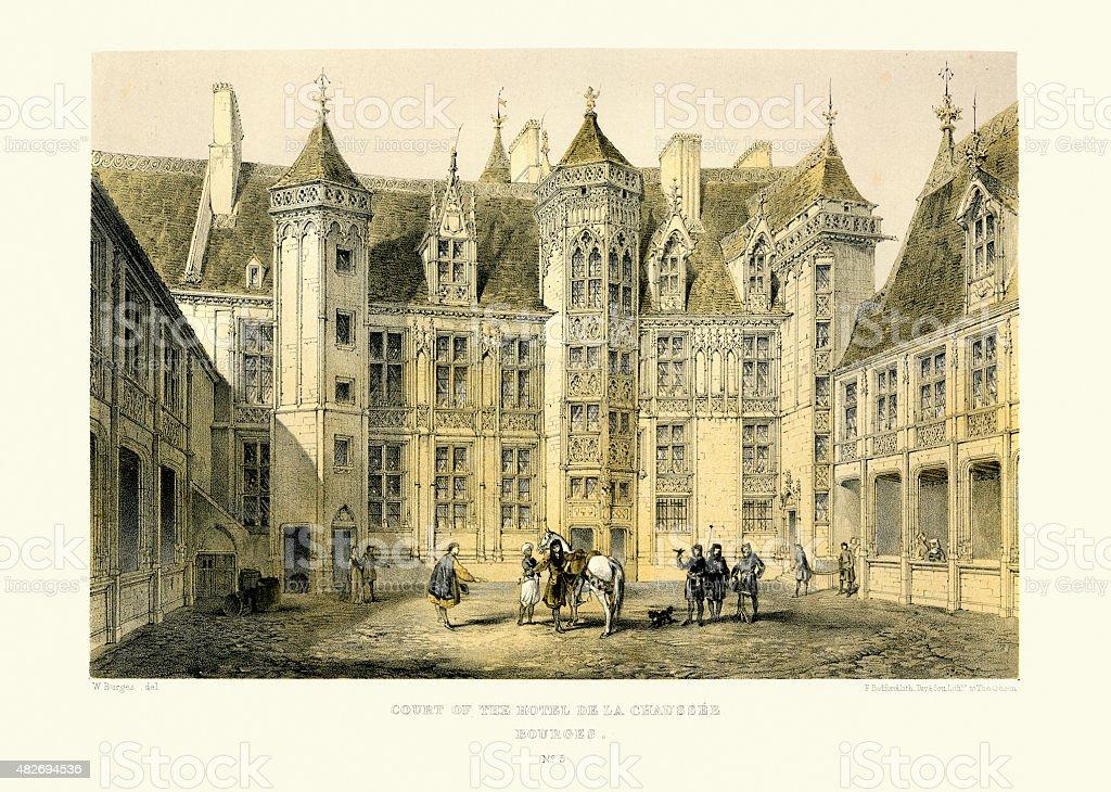 Medieval Architecture - Court of the Hotel De La Chaussee vector art illustration