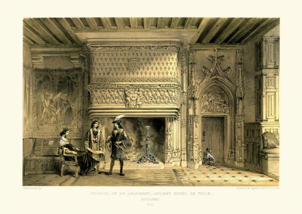 illustrations, cliparts, dessins animés et icônes de une architecture de style médiévale-intérieur d'un appartement - aix en provence