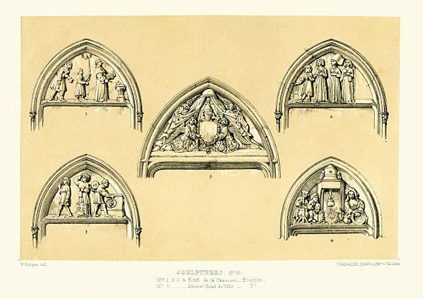 illustrations, cliparts, dessins animés et icônes de une architecture de style médiévale sculptures de bourges, france - aix en provence