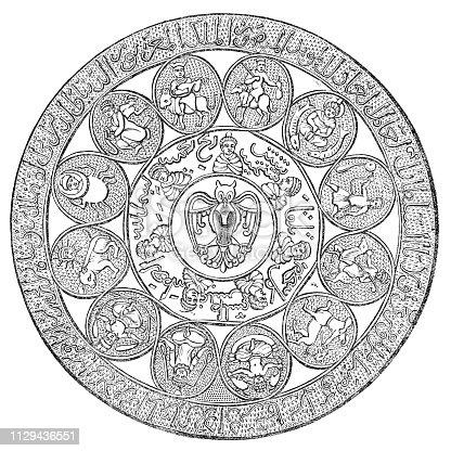 Medieval Artquids Islamic Astrology Chart - 13th Century