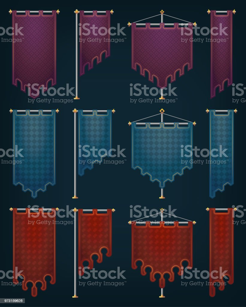 Medieval banners with iron poles. vector art illustration