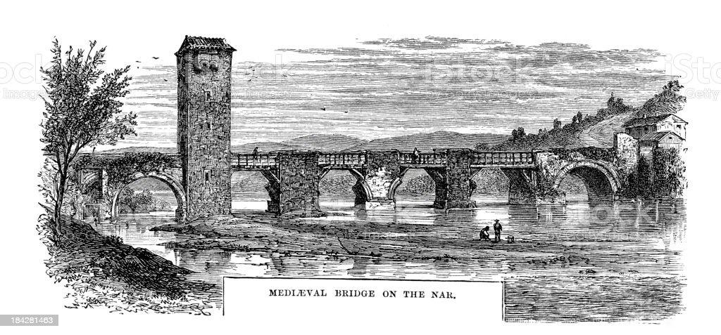 Medieval Bridge on the Nar royalty-free stock vector art
