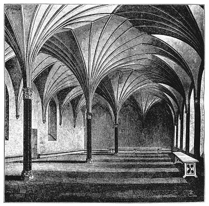 Illustration of a Medieval castle interior in Malbork