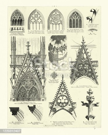 Vintage engraving of medieval cathedral architecture, Canopy, Windows, Ribs, Finial