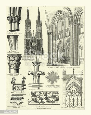 Vintage engraving of Medieval cathedral architecture, nave, clustered pillar, facade, window, gable, finial, moulding with gothic foliage