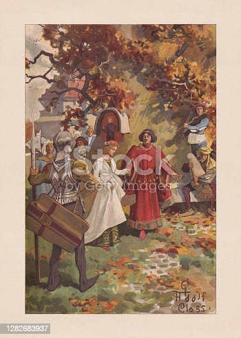 istock Medieval dance amusements, chromolithograph, published 1899 1282683937