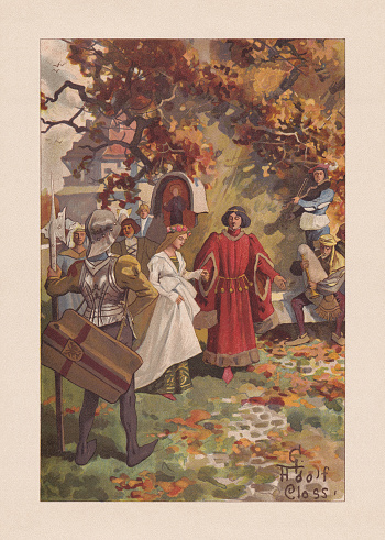Medieval dance amusements, chromolithograph, published 1899
