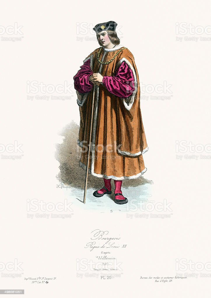 Medieval Fashion - Bourgeoisie royalty-free stock vector art