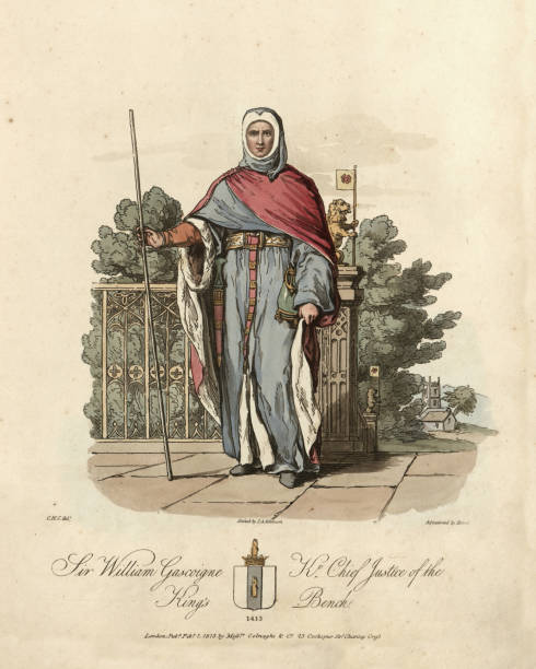 Medieval fashion, Sir William Gascoigne, Chief Justice of England Vintage engraving of Sir William Gascoigne (c. 1350 – 17 December 1419) was Chief Justice of England during the reign of King Henry IV. chief justice stock illustrations