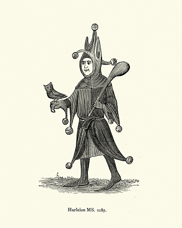 Medieval fool, Jester holding an owl, bells and club