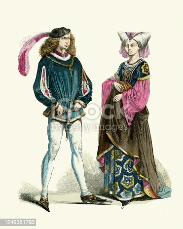 Vintage illustration of Medieval french fashion Noble man and woman, late 15th Century