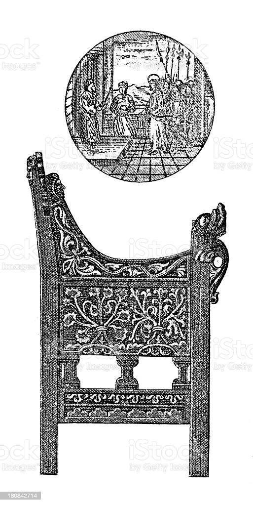 medieval furniture wing chair and maiollica antique wood engraving royaltyfree stock