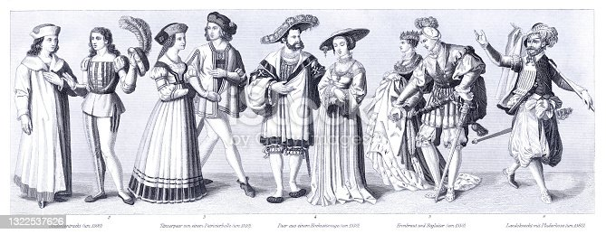 istock Medieval historical traditional costumes 16th century 1322537626