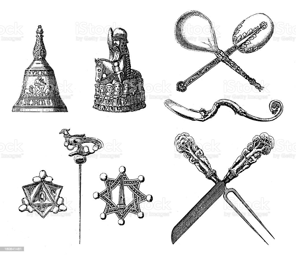 Medieval Household Artefacts Stock Illustration - Download