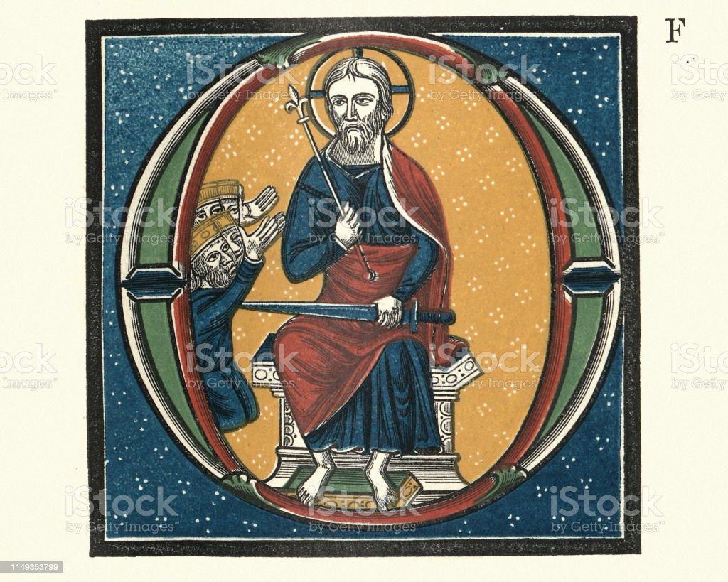 Mittelalterlich Beleuchteter Buchstabe O Zeigt Jesus Stock
