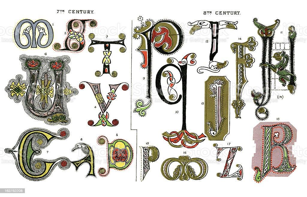 Mittelalterliche Beleuchtet Buchstaben Stock Vektor Art Und Mehr Bilder Von Alphabet Istock