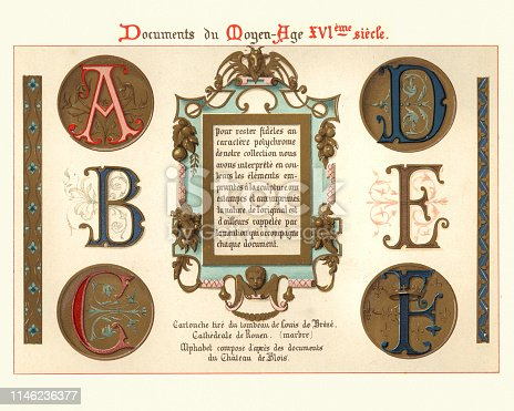Vintage engraving of Medieval illuminated manuscript letters and design elements, 15th Century