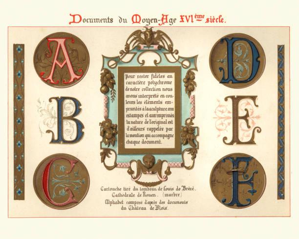 illustrations, cliparts, dessins animés et icônes de lettres de manuscrit illuminées médiévales et éléments de conception, xve siècle - enluminure bordure