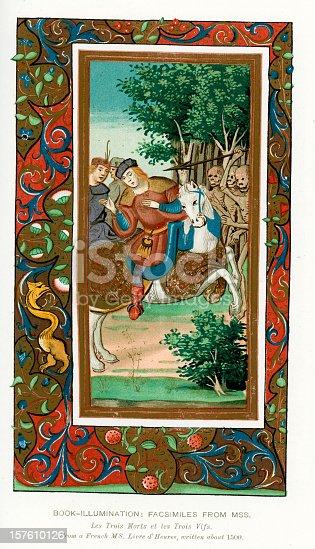 istock Medieval Illumination Danse macabre 157610126