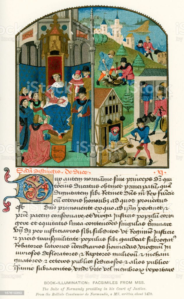 Medieval Illumination Justice in the Middle Ages vector art illustration