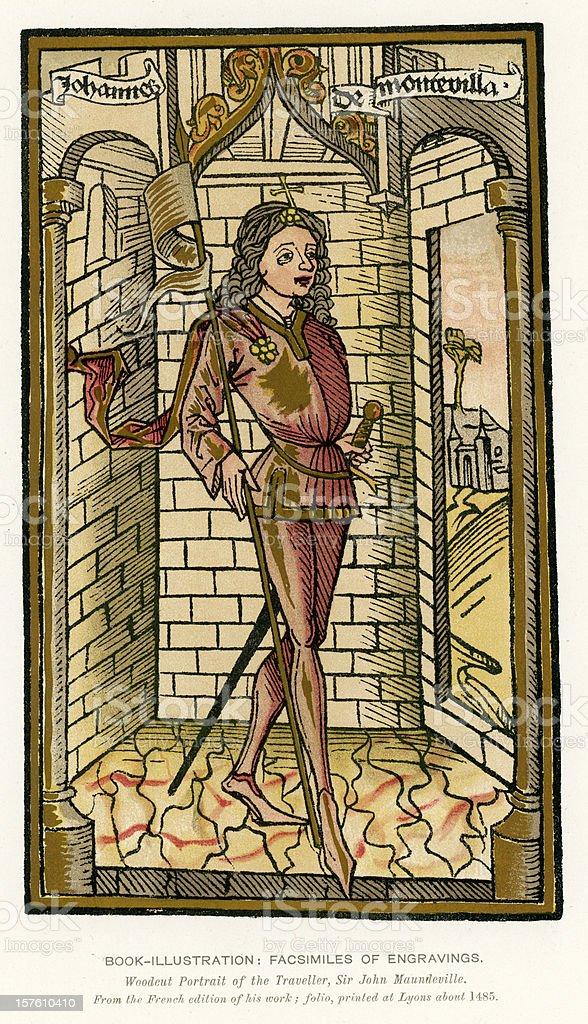 Medieval Illumination Sir John Mandeville vector art illustration