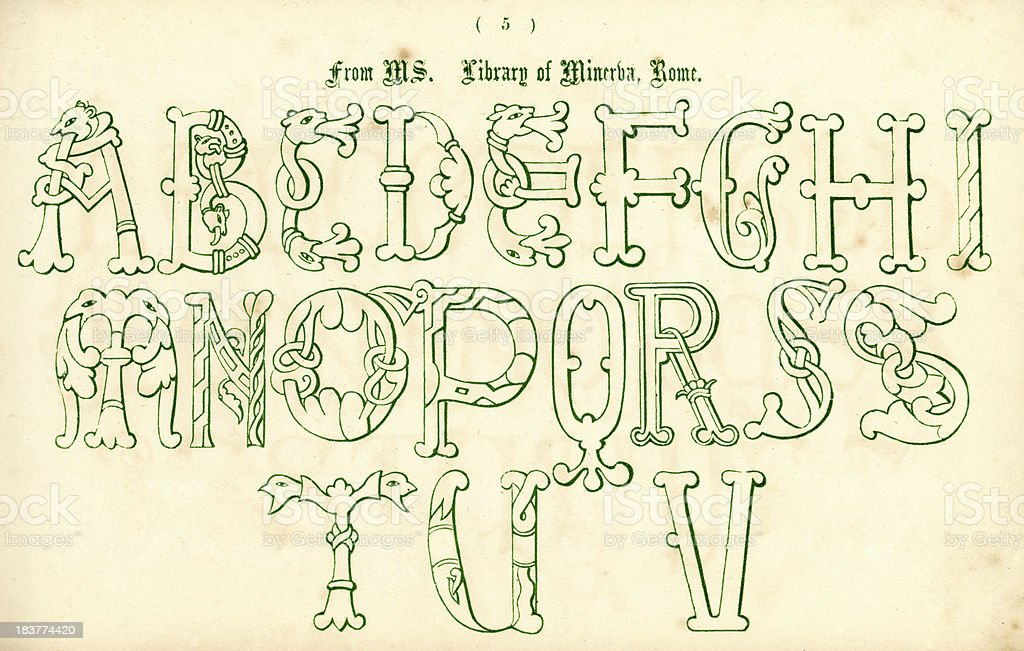 Medieval Italian Style Alphabet royalty-free medieval italian style alphabet stock vector art & more images of alphabet