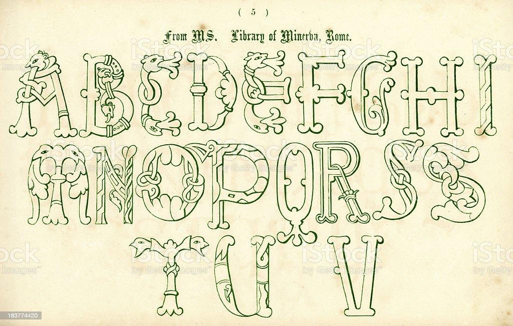 Medieval Italian Style Alphabet vector art illustration