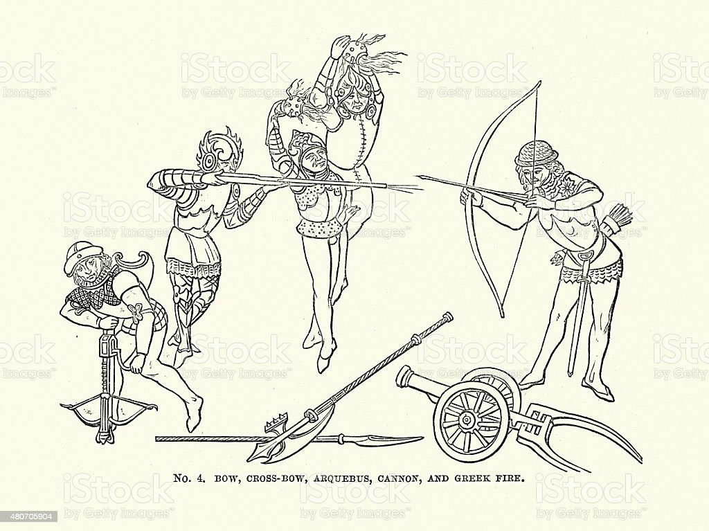 Medieval Longbow, Crossbow, Arquebus, Cannon and Greek Fire vector art illustration