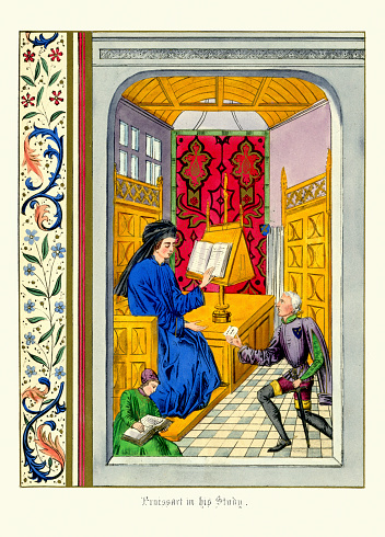 Vintage colour print of Jean Froissart in his Study. Jean Froissart (c.1337 to c.1405) was a medieval French author and court historian, who wrote several works, including Chronicles and Meliador, a long Arthurian romance, and a large body of poetry, both short lyrical forms, as well as longer narrative poems. For centuries, Froissart's Chronicles have been recognised as the chief expression of the chivalric revival of the 14th century Kingdom of England and France.