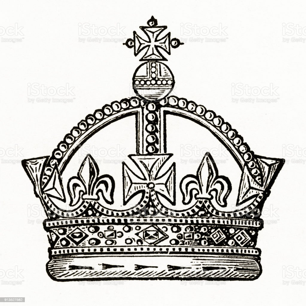 Medieval monarch crown with christian symbolism engraving stock medieval monarch crown with christian symbolism engraving royalty free medieval monarch crown with christian symbolism biocorpaavc Image collections