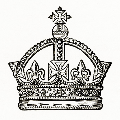 Medieval Monarch Crown with Christian Symbolism Engraving