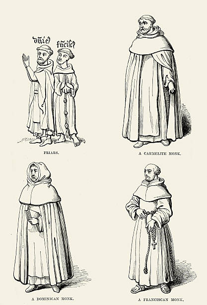 Medieval Monks and Friars - Dominican Franciscan and Carmelite Vintage engraving of Medieval Monks and Friars - Dominican Franciscan and Carmelite friar stock illustrations