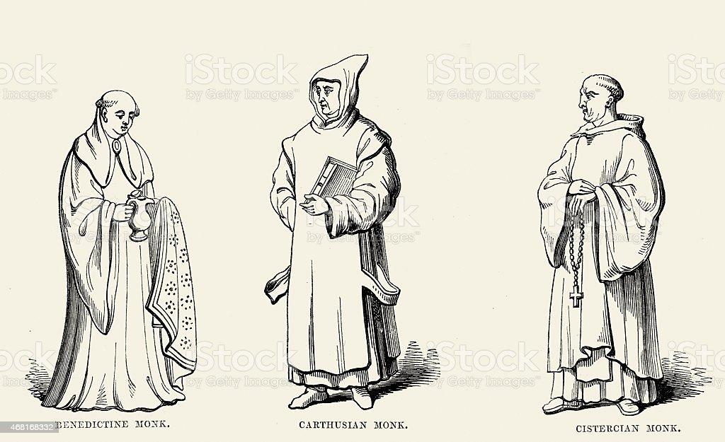 Monjes medievales-benedictino Carthusian y cisterciense - ilustración de arte vectorial