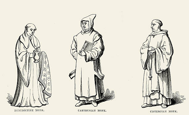 ilustraciones, imágenes clip art, dibujos animados e iconos de stock de monjes medievales-benedictino carthusian y cisterciense - hermano