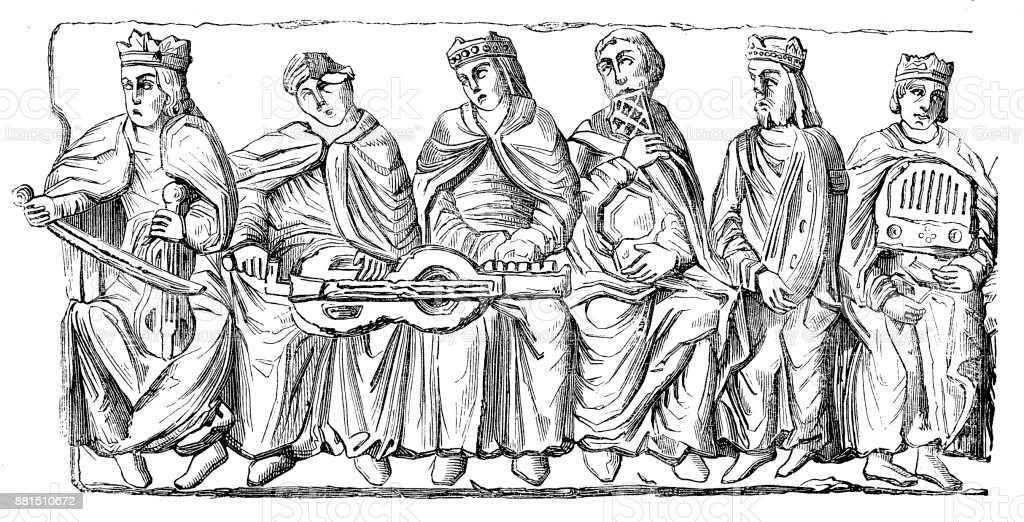 Medieval Musicians playing musical instruments of the Middle Ages vector art illustration