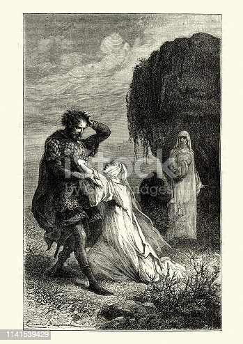 Vintage engraving of Medieval nun pleading with a soldier during the hundred years war