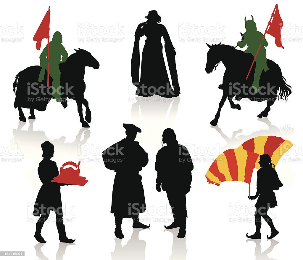 Medieval people vector art illustration