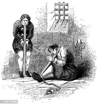 The men restrained in a bar neck, leg and handcuff in a dungeon (circa 13th century) from the Works of William Shakespeare. Vintage etching circa mid 19th century.