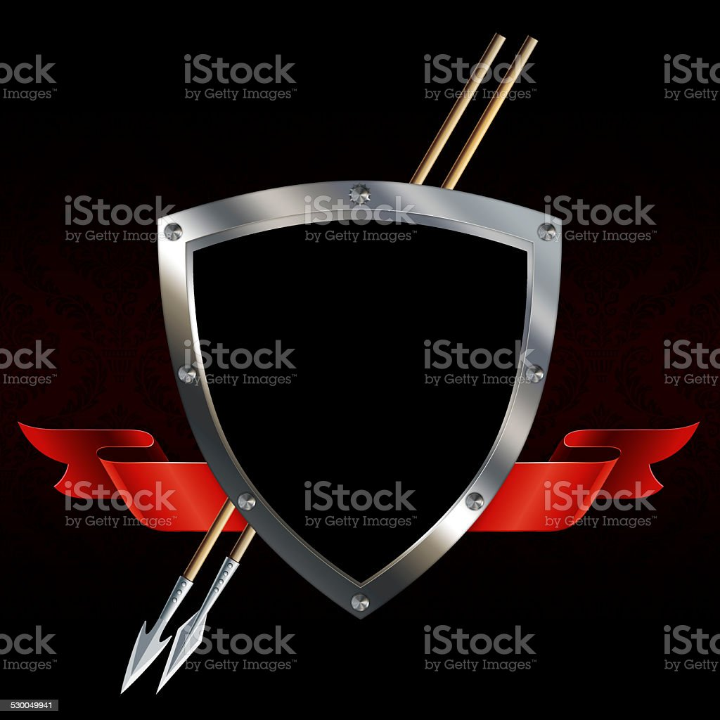 Medieval shield with sword and red ribbon. vector art illustration