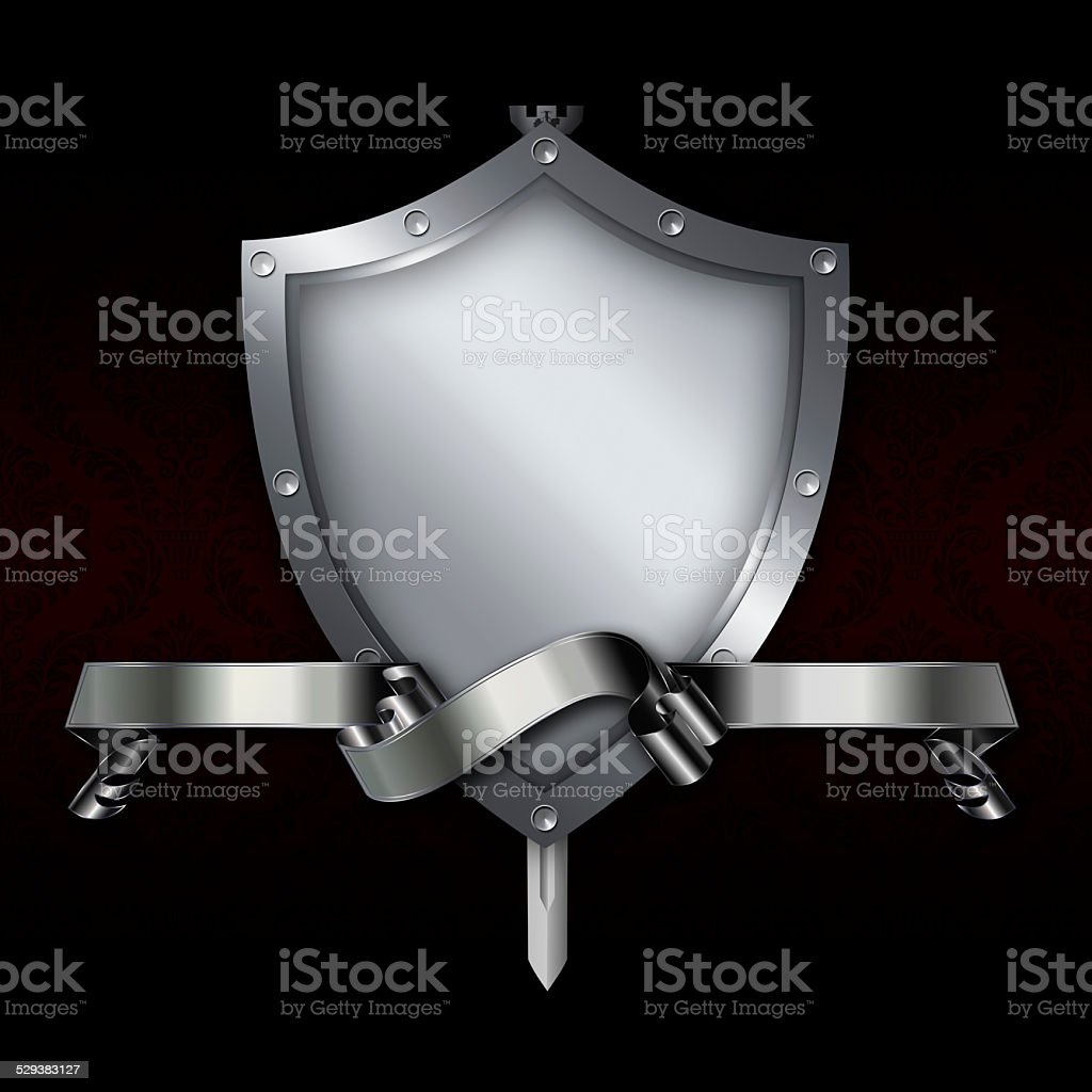 Medieval shield with sword and silver ribbon. vector art illustration
