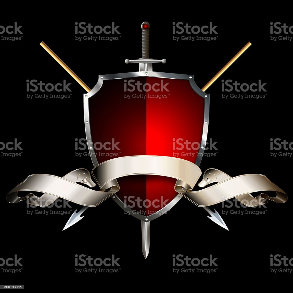 Medieval shield with sword, spears and ribbon. vector art illustration